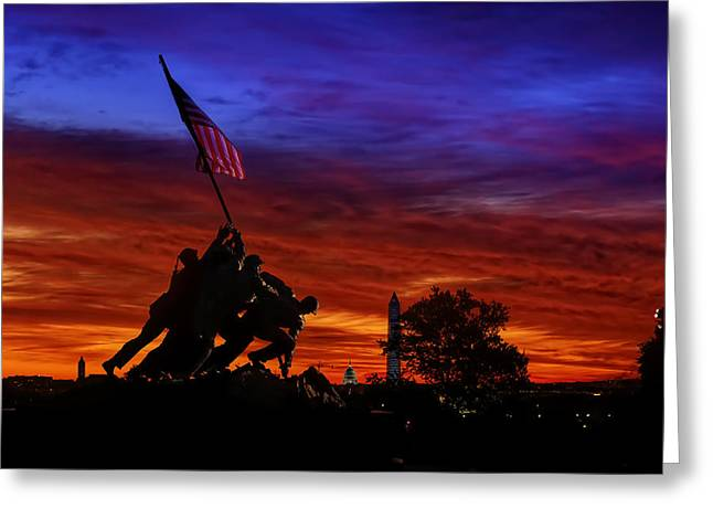 Flag Of Usa Greeting Cards - Raising The Flag Greeting Card by Metro DC Photography