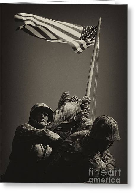 Marine Corp Greeting Cards - Raising the flag on Iwo - Front Greeting Card by Paul W Faust -  Impressions of Light