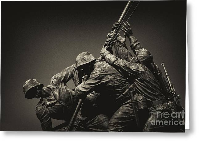 Marine Corp Greeting Cards - Raising the flag on Iwo Greeting Card by Paul W Faust -  Impressions of Light