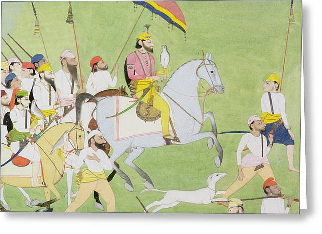 Hound Drawings Greeting Cards - Rajah Dhian Singh Hunting Greeting Card by Indian School