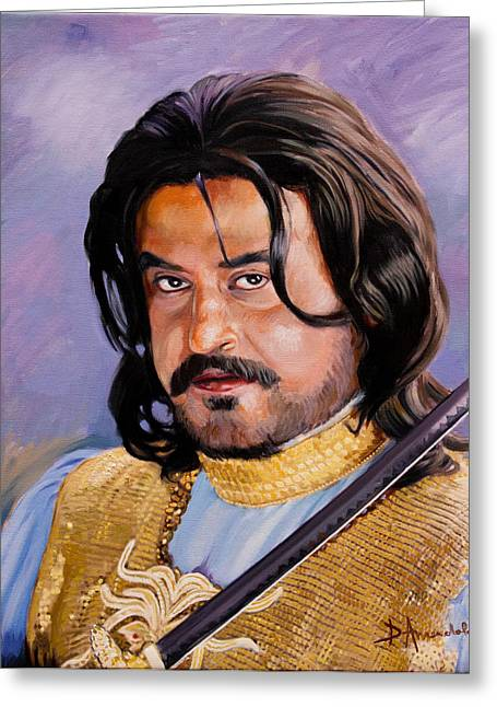 Indian Actor Greeting Cards - Rajani Kanth portrait Greeting Card by Dominique Amendola
