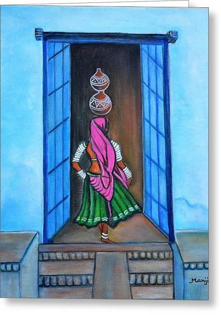 Empowerment Greeting Cards - Rajasthani Beauty-Amrita Greeting Card by Manjiri Kanvinde