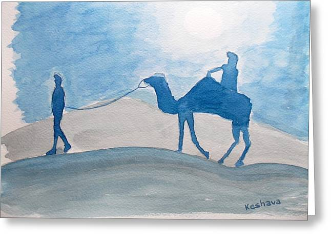 Watercolor Greeting Cards - Rajasthani blues Greeting Card by Keshava Shukla