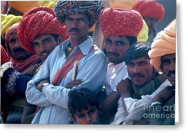 Candid Group Portraits Greeting Cards - Rajasthani Men Greeting Card by Eva Kato