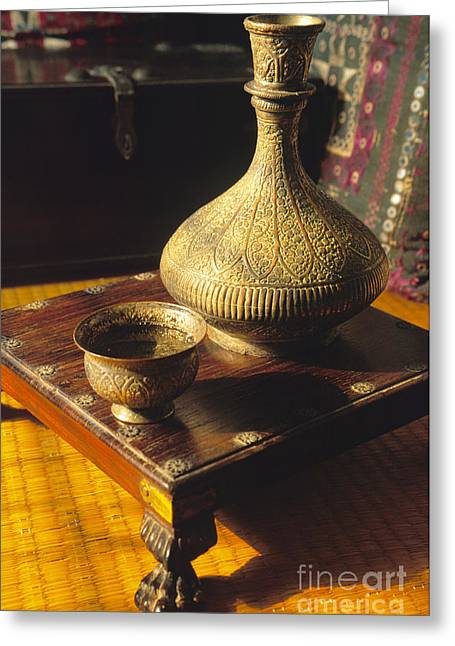 Old Pitcher Greeting Cards - Rajhasthani Ornamental  Pitcher and Chalice Greeting Card by Ladi  Kirn