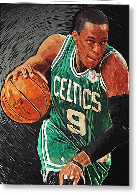 Kevin Garnett Art Greeting Cards - Rajon Rondo Greeting Card by Taylan Soyturk