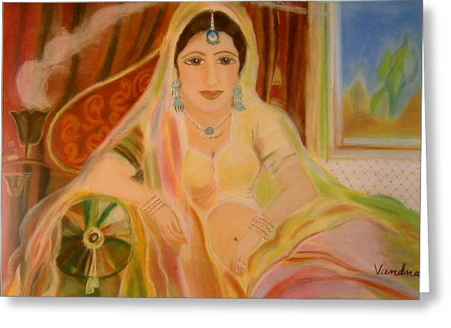 Jewelry Pastels Greeting Cards - Rajput Princess Greeting Card by Vandna Mehta