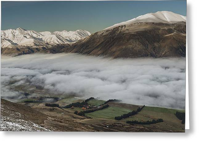 Hill Station Greeting Cards - Rakaia River Valley Filled With Fog Greeting Card by Colin Monteath