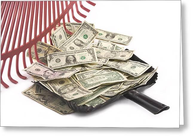 Rake Digital Art Greeting Cards - Rake Raking Up American Cash Money Greeting Card by Keith Webber Jr