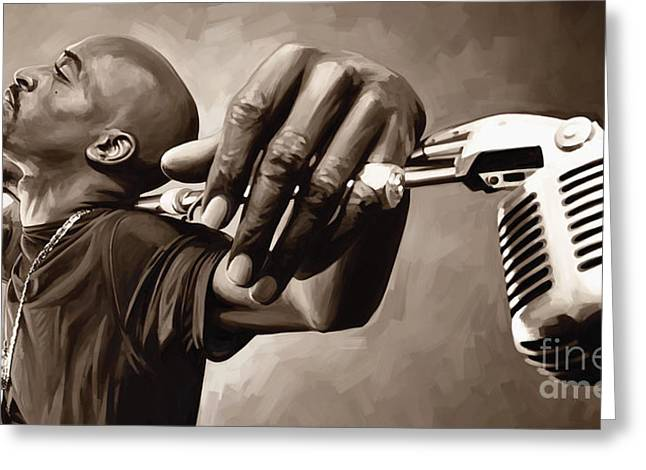 Hip-hop Greeting Cards - Rakim Artwork Greeting Card by Sheraz A