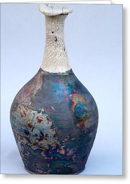 Raku Ceramics Greeting Cards - Raku Bottle 75 Greeting Card by Chip Vander Wier