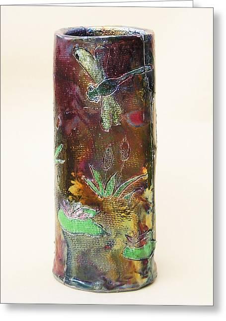 Dragonfly Ceramics Greeting Cards - Raku Dragonfly Vase Greeting Card by Jeanette K
