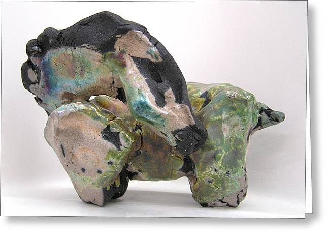 Knighted Sculptures Greeting Cards - Raku Green Greeting Card by Valerie Freeman