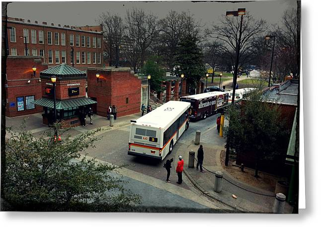 Basement Art Greeting Cards - Raleigh Bus Terminal - Evening Greeting Card by Paulette B Wright
