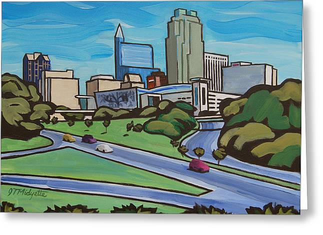 Marriot Greeting Cards - Raleigh Skyline 2 Greeting Card by Tommy Midyette