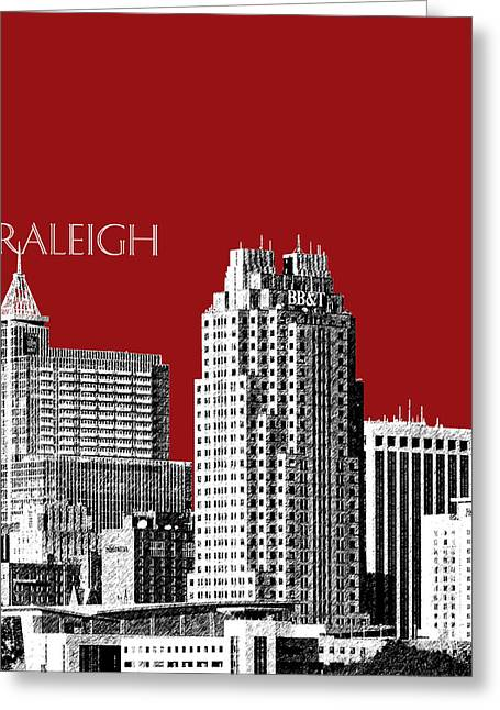 Sketch Greeting Cards - Raleigh Skyline - Dark Red Greeting Card by DB Artist