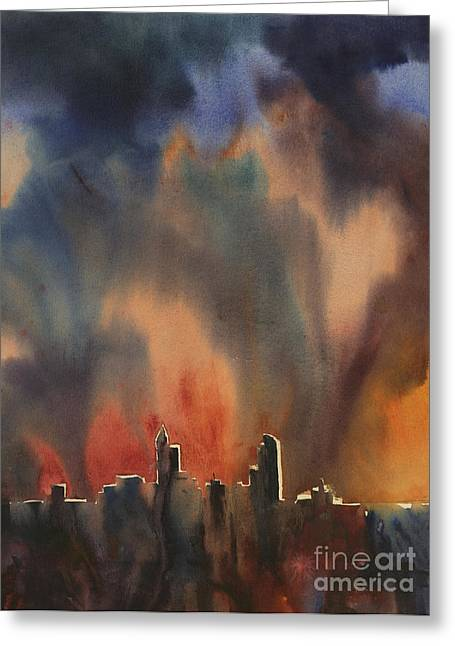 Art Reproduction Greeting Cards - Raleigh Thunderstorm Greeting Card by Ryan Fox