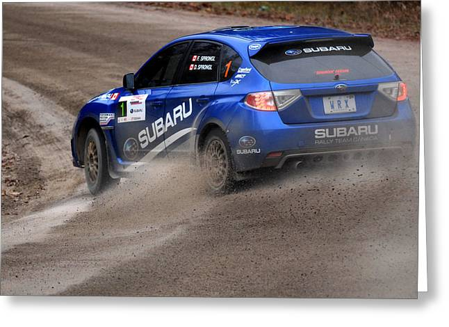 Subaru Rally Greeting Cards - Rally of the Tall Pines Greeting Card by Andre Denis