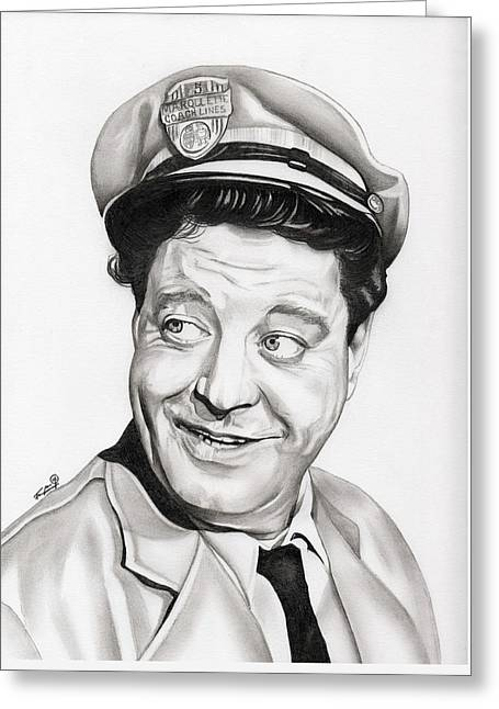 Collar Drawings Greeting Cards - Ralph Kramden Greeting Card by Fred Larucci