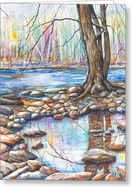 Trees Reflecting In Water Greeting Cards - Ralph Stover Park in the Spring Greeting Card by Patricia Allingham Carlson