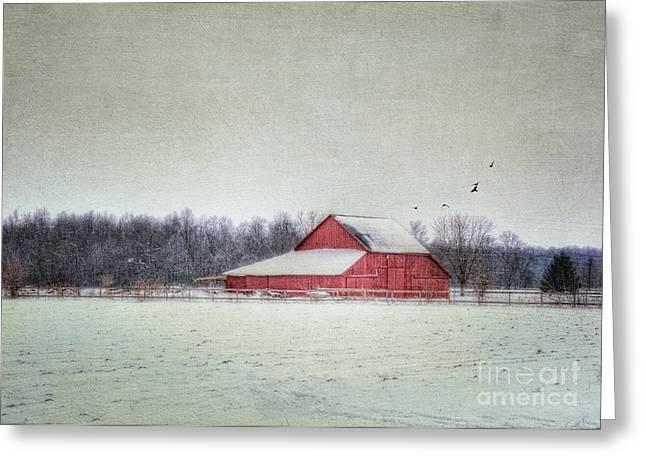 Winter Scenes Rural Scenes Greeting Cards - Ralphs Barn Greeting Card by Pamela Baker