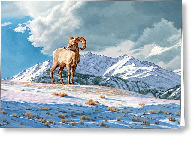 Bighorn Greeting Cards - Ram and Electric Peak Greeting Card by Paul Krapf