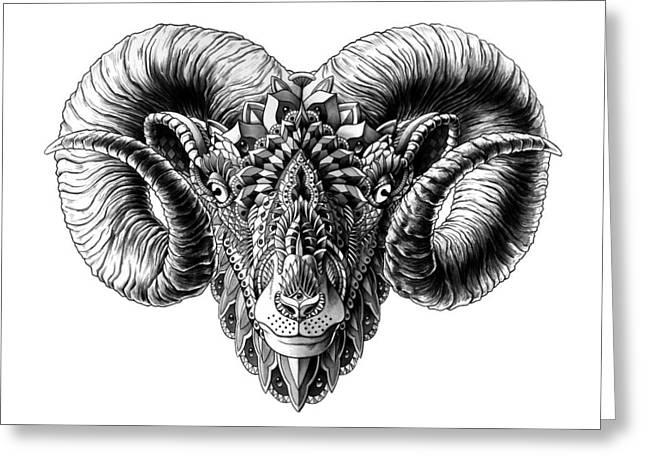 Native American Illustration Greeting Cards - Ram Head Greeting Card by BioWorkZ