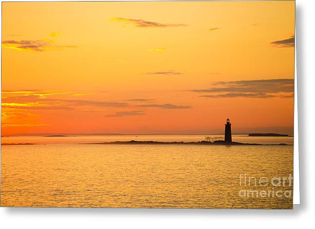 New England Ocean Greeting Cards - Ram Island Light Casco Bay Maine Greeting Card by Diane Diederich