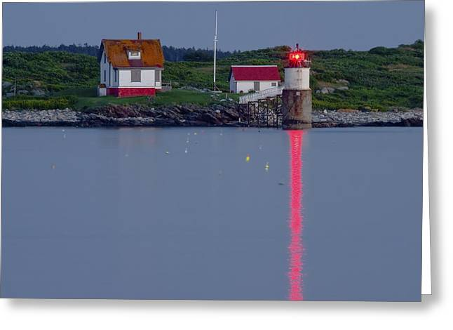 New England Lighthouse Greeting Cards - Ram Island Lighthouse At Night Maine  Greeting Card by Keith Webber Jr