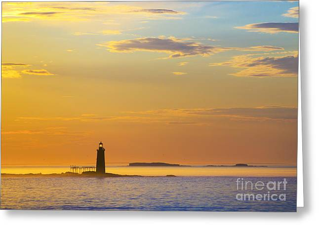New England Ocean Greeting Cards - Ram Island Lighthouse Casco Bay Maine Greeting Card by Diane Diederich