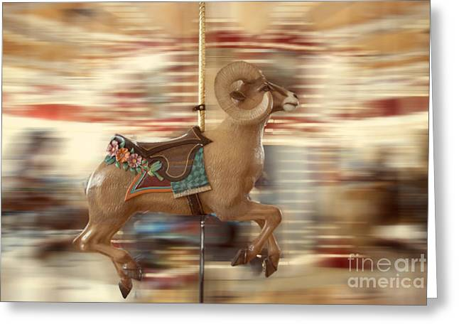 Amusements Greeting Cards - Ram on the Run Greeting Card by Juli Scalzi