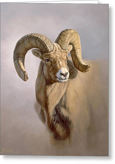Bighorn Greeting Cards - Ram Portrait Greeting Card by Paul Krapf