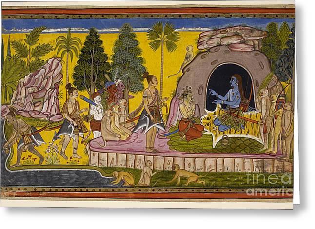 Gouache Photographs Greeting Cards - Rama Anoints Bibishana Greeting Card by British Library