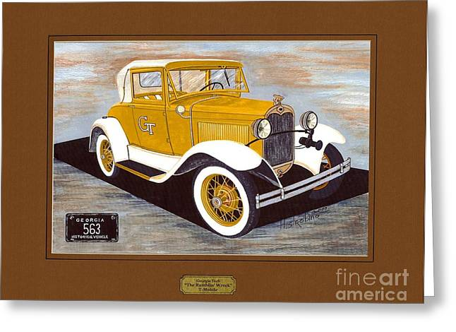 Ford Model T Car Paintings Greeting Cards - Ramblin Wreck T-Mobile Greeting Card by Herb Strobino