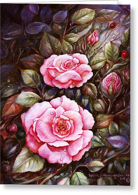 Dewdrops Paintings Greeting Cards - Rambling Rose Greeting Card by Patricia Schneider Mitchell