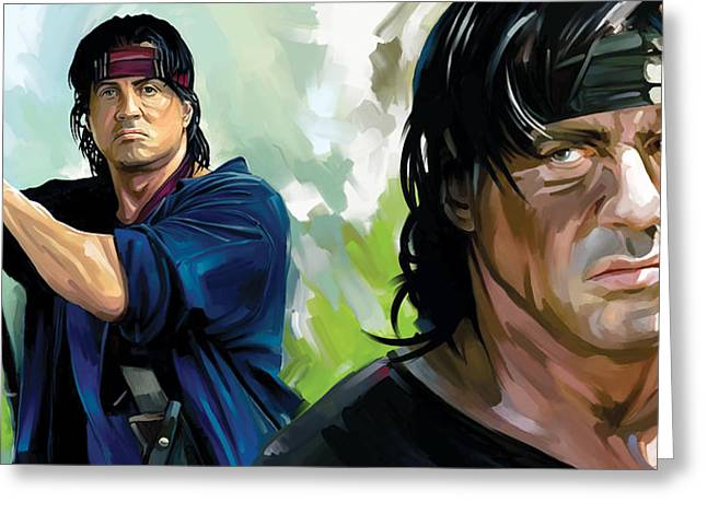 Movie Art Mixed Media Greeting Cards - Rambo Artwork Greeting Card by Sheraz A