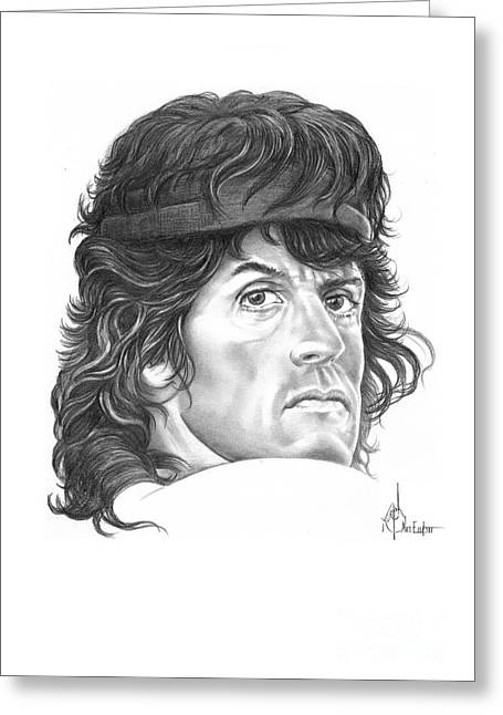 Sylvester Greeting Cards - Rambo-Sylvester-Stallone Greeting Card by Murphy Elliott