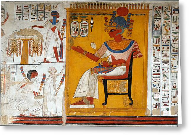 New Kingdom Temple Greeting Cards - Rameses II in a Egyptian Wall Painting of Temple of Beit El-Wali Greeting Card by RicardMN Photography