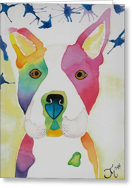 Boston Terrier Watercolor Greeting Cards - Ramone Greeting Card by Teresa Meza