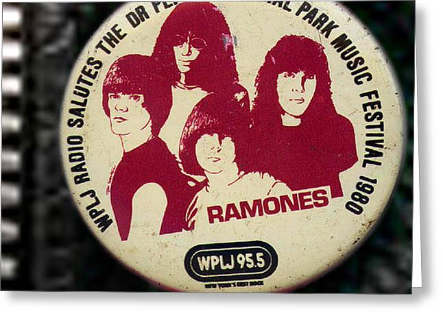 Music Cds Greeting Cards - Ramones 80 Greeting Card by Del Gaizo