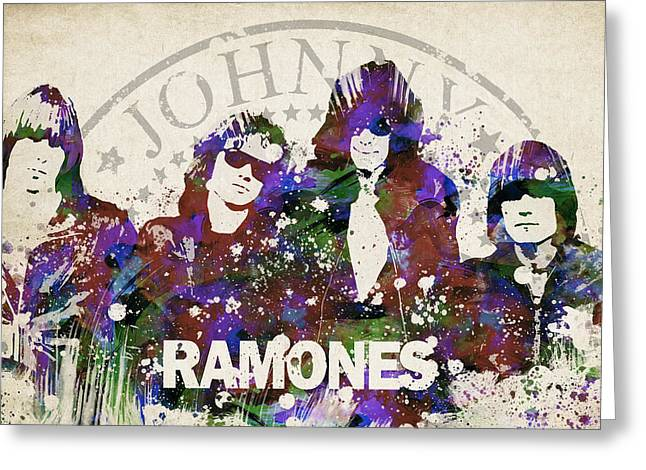 Splutter Greeting Cards - Ramones Portrait Greeting Card by Aged Pixel
