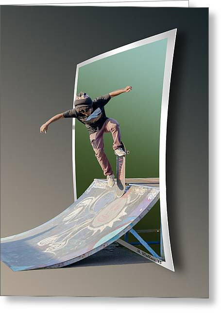 Skateboarding Digital Greeting Cards - Ramp It Up - OOF Greeting Card by Brian Wallace