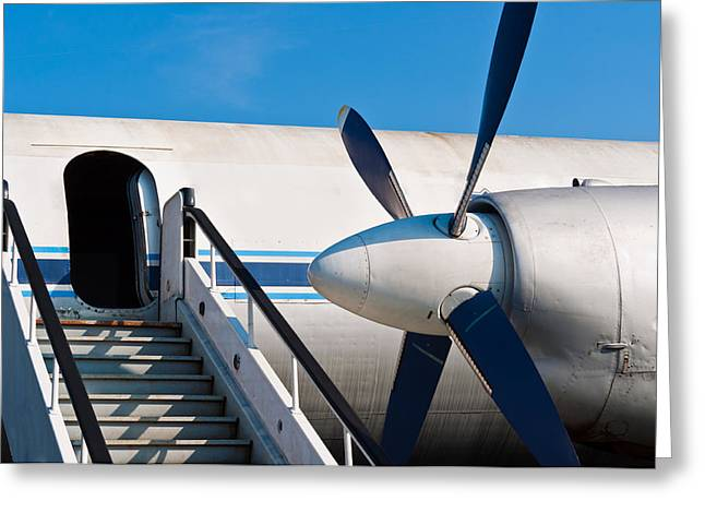 Airport Pyrography Greeting Cards - Ramp of an airplane with opened door Greeting Card by Oliver Sved
