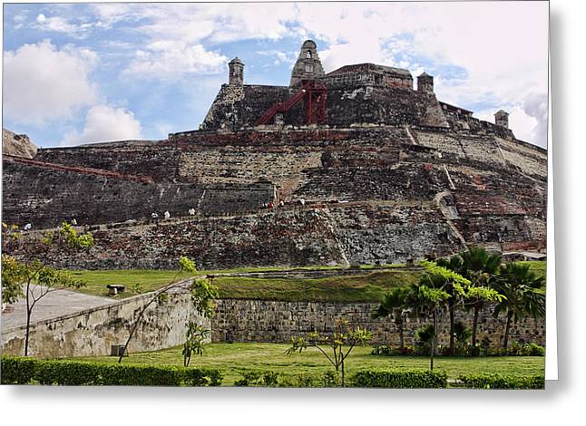 Castillo San Felipe Greeting Cards - Ramp to Castillo de San Felipe de Barajas Greeting Card by Linda Phelps
