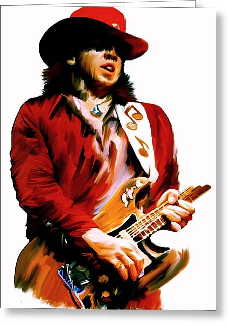 Iconic Guitar Greeting Cards - Rampage  Stevie Ray Vaughan Greeting Card by Iconic Images Art Gallery David Pucciarelli