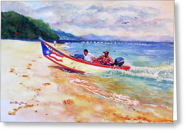 Recently Sold -  - Ocean Shore Greeting Cards - Rampeando at Crashboat Beach Aguadilla Puerto Rico Greeting Card by Estela Robles Galiano