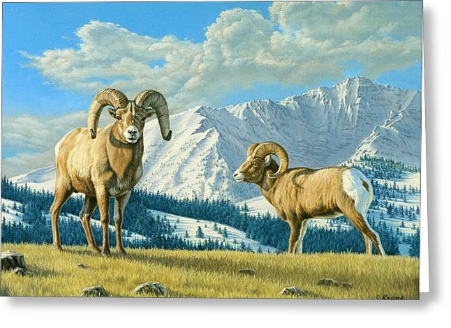Bighorn Greeting Cards - Rams On The Ridge  Greeting Card by Paul Krapf