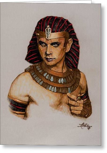 Pharaoh Drawings Greeting Cards - Ramses of Kings and Gold Greeting Card by Terry A White