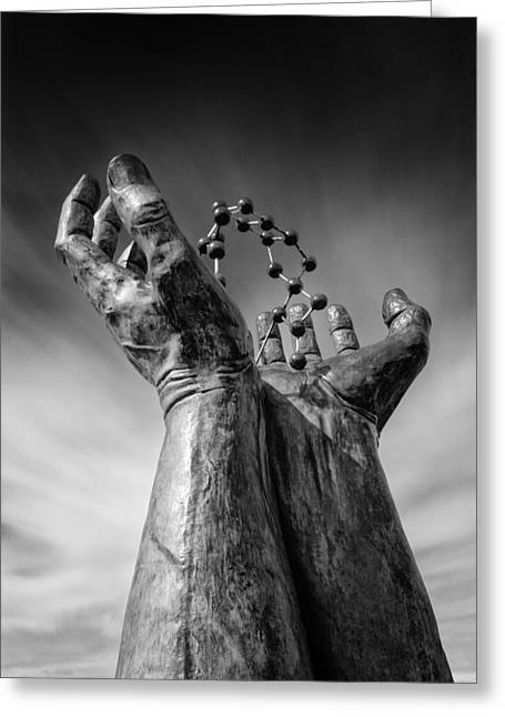 Molecules Greeting Cards - Ramsgate - Hands and Molecule Greeting Card by Ian Hufton