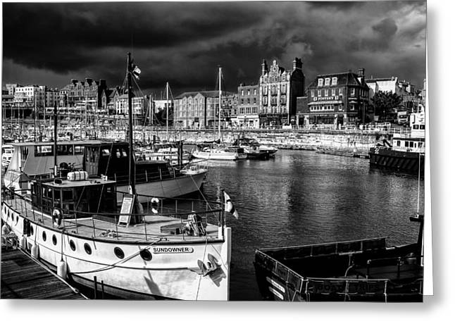 Port Kent Greeting Cards - Ramsgate harbour mono Greeting Card by Ian Hufton